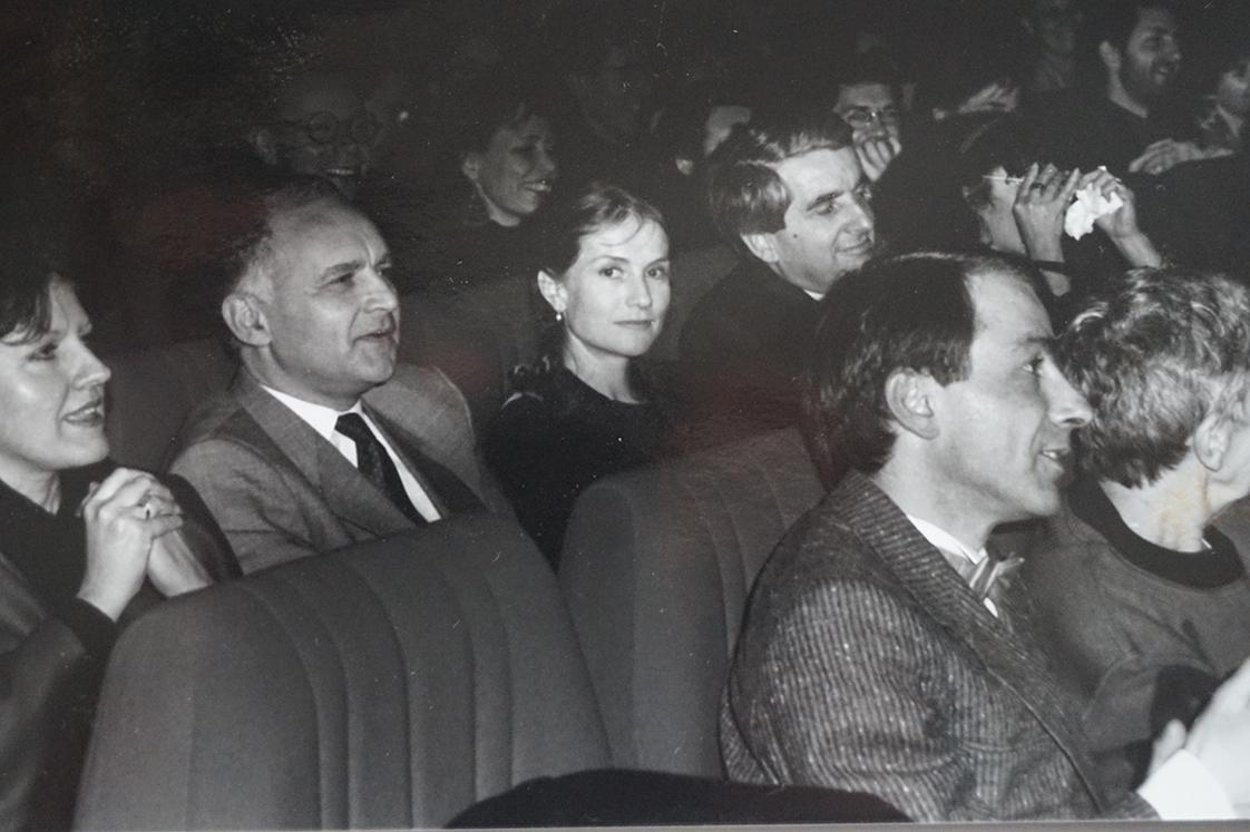 "Isabelle Huppert and Jean-Pierre Chevènement during the screening of ""Milan noir"" by Ronald Chammah (in competition)"