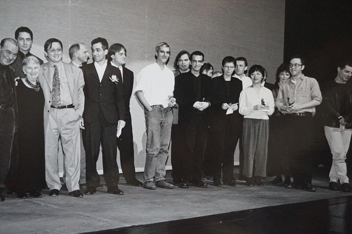 Awards ceremony (from left to right) : the jury (Fernando Lopes, Laurent Roth, Xavier Carniaux, Jean-Chrétien Sibertin-Blanc), Janine Bazin, Laurent Cantet, Rafi Pitts, Pascale Ferran, Philippe Martin, Françoise Etchegaray