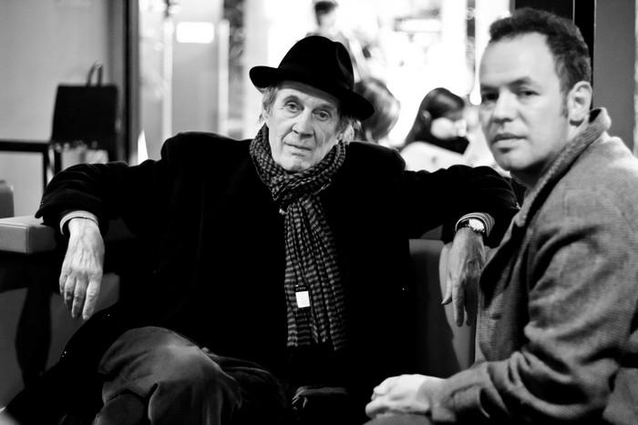 "André S. Labarthe and Nicola Sornaga ([Films en cours] laureate for his film ""Monsieur Morimoto"")"