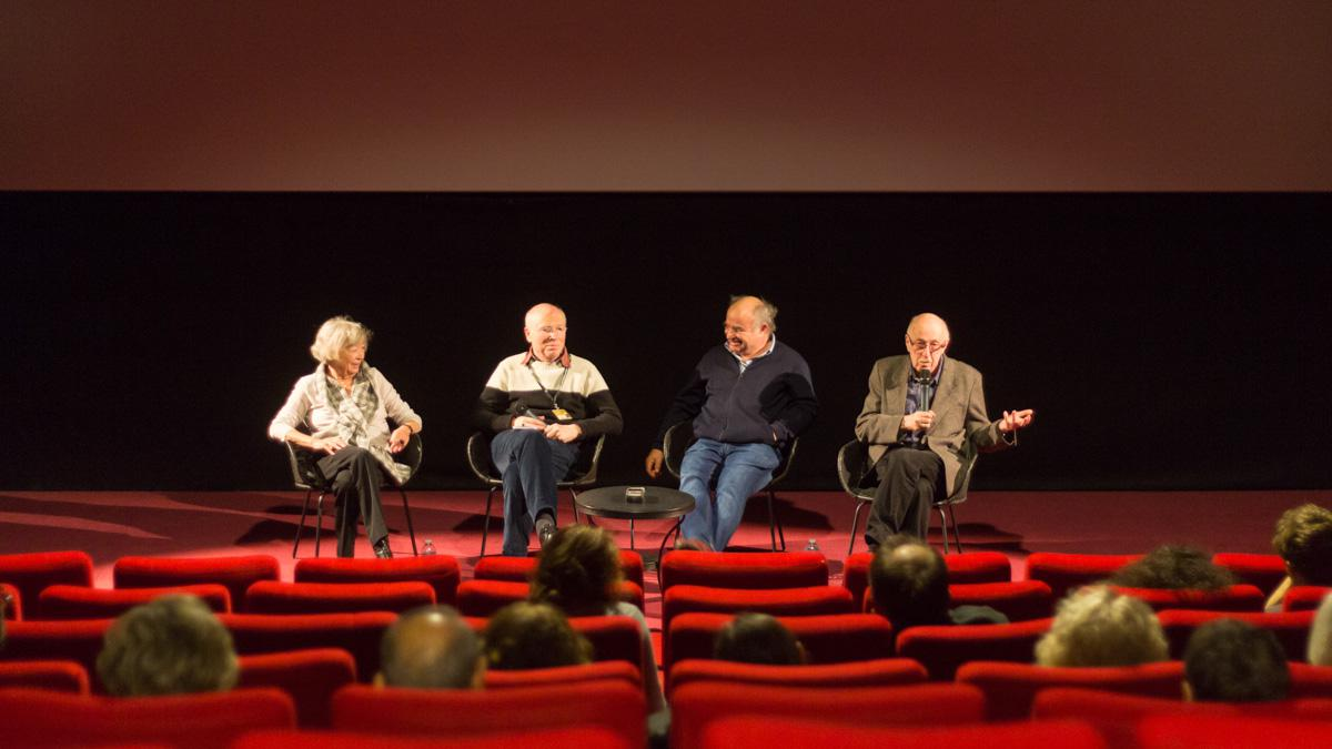 Rencontre Fabbrica (de gauche à droite) : Martine Marignac, Bernard Eisenschitz, Emmanuel de Chauvigny, Otar Iosseliani